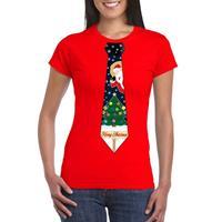 Shoppartners Fout kerst t-shirt rood met kerstboom stropdas voor dames