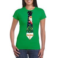 Shoppartners Fout kerst t-shirt groen met kerstboom stropdas voor dames