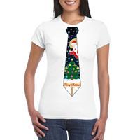 Shoppartners Fout kerst t-shirt wit met kerstboom stropdas voor dames