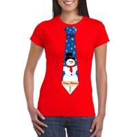 Shoppartners Fout kerst t-shirt rood met sneeuwpop stropdas voor dames