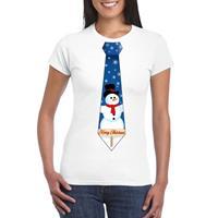 Shoppartners Fout kerst t-shirt wit met sneeuwpop stropdas voor dames