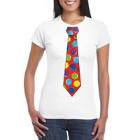 Shoppartners Kerst t-shirt stropdas met kerstballen print wit voor dames
