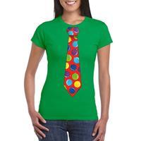 Shoppartners Kerst t-shirt stropdas met kerstballen print groen voor dames
