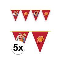 5x Vlaggenlijnen versiering Sinterklaas 6 meter Rood