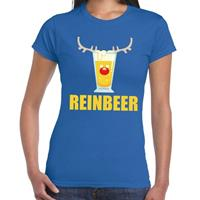 Shoppartners Foute Kerst t-shirt Reinbeer blauw voor dames