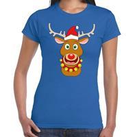 Shoppartners Foute Kerst t-shirt kerstman en rendier Rudolf blauw dames Blauw