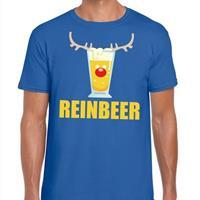 Shoppartners Foute Kerst t-shirt Reinbeer blauw voor heren