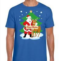 Shoppartners Foute Kerst t-shirt kerstman en rendier Rudolf blauw heren Blauw