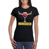 Shoppartners Foute Kerst t-shirt Winedeer zwart voor dames