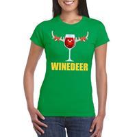 Shoppartners Foute Kerst t-shirt Winedeer groen voor dames