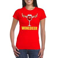 Shoppartners Foute Kerst t-shirt Winedeer rood voor dames
