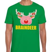 Shoppartners Foute Kerst t-shirt braindeer groen voor heren