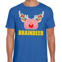 Shoppartners Foute Kerst t-shirt braindeer blauw voor heren