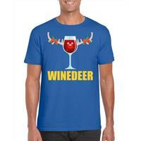 Shoppartners Foute Kerst t-shirt Winedeer blauw voor heren