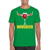 Shoppartners Foute Kerst t-shirt Winedeer groen voor heren