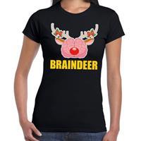 Shoppartners Foute Kerst t-shirt braindeer zwart voor dames