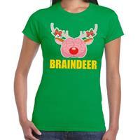 Shoppartners Foute Kerst t-shirt braindeer groen voor dames