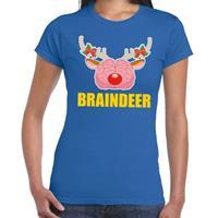 Shoppartners Foute Kerst t-shirt braindeer blauw voor dames