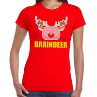 Shoppartners Foute Kerst t-shirt braindeer rood voor dames