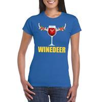 Shoppartners Foute Kerst t-shirt Winedeer blauw voor dames