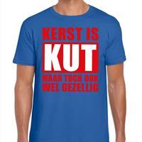 Shoppartners Foute Kerst t-shirt Kerst is kut maar toch gezellig blauw heren Blauw