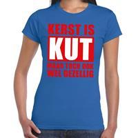 Shoppartners Foute Kerst t-shirt Kerst is kut maar toch gezellig blauw dames Blauw