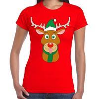 Shoppartners Foute Kerst t-shirt rendier Rudolf groene kerstmuts rood dames Rood