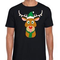 Shoppartners Foute Kerst t-shirt rendier Rudolf groene kerstmuts zwart dames Zwart