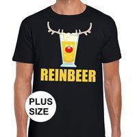 Shoppartners Grote maten foute Kerst t-shirt Reinbeer zwart voor heren