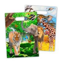 8x Safari/jungle themafeest feestzakjes 18 x 29 cm Multi