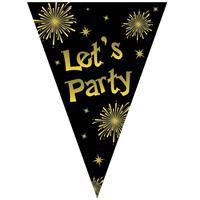 Vlaggenlijn let's party oud en nieuw jaar zwart / goud 5 meter Multi