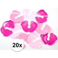 Geboorte versiering meisje tafelconfetti roze 20 stuks Roze
