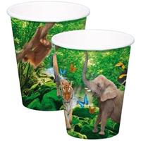 8x Safari/jungle themafeest bekertjes 250ml Multi
