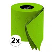 2x groen toiletpapier Groen