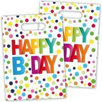 8x Happy B-day feestzakjes met stippen 22 cm Multi