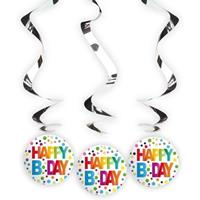 3x Happy B-day rotorspiralen met stippen Multi