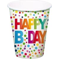 8x Happy B-day feestbekertjes met stippen 13 cm Multi