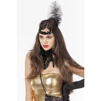 Coppens Charleston pailletten hoofdband zwart met veren