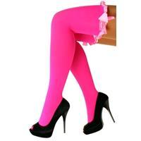 Coppens Britney kousen met strik fluor pink