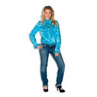Coppens Dames Ruche Blouse Turquoise
