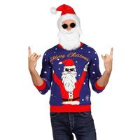 Coppens Kersttrui blauw rocking Santa