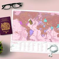 Scratch Map Rose Gold Travel Kras Wereldkaart
