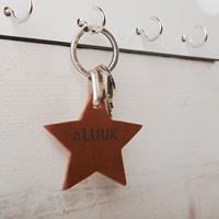 YourSurprise Leren sleutelhanger - Ster - Bruin