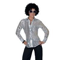 Toppers - Zilveren disco seventies verkleed blouse voor dames