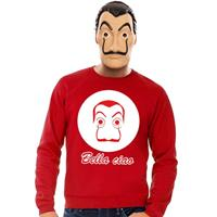 Shoppartners Rode Salvador Dali sweater met La Casa de Papel masker heren Rood