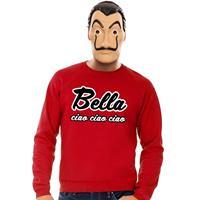 Shoppartners Rode Bella Ciao sweater met La Casa de Papel masker heren Rood