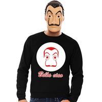 Shoppartners Zwarte Salvador Dali sweater met La Casa de Papel masker heren Zwart