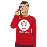 Shoppartners Rode Salvador Dali sweater met La Casa de Papel masker dames Rood