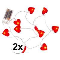 Valentijn - 2x Rode hartjes lichtsnoer 120 cm Rood