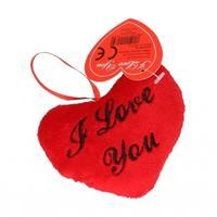 Valentijn - Pluche I Love You kussentje 10 cm Rood